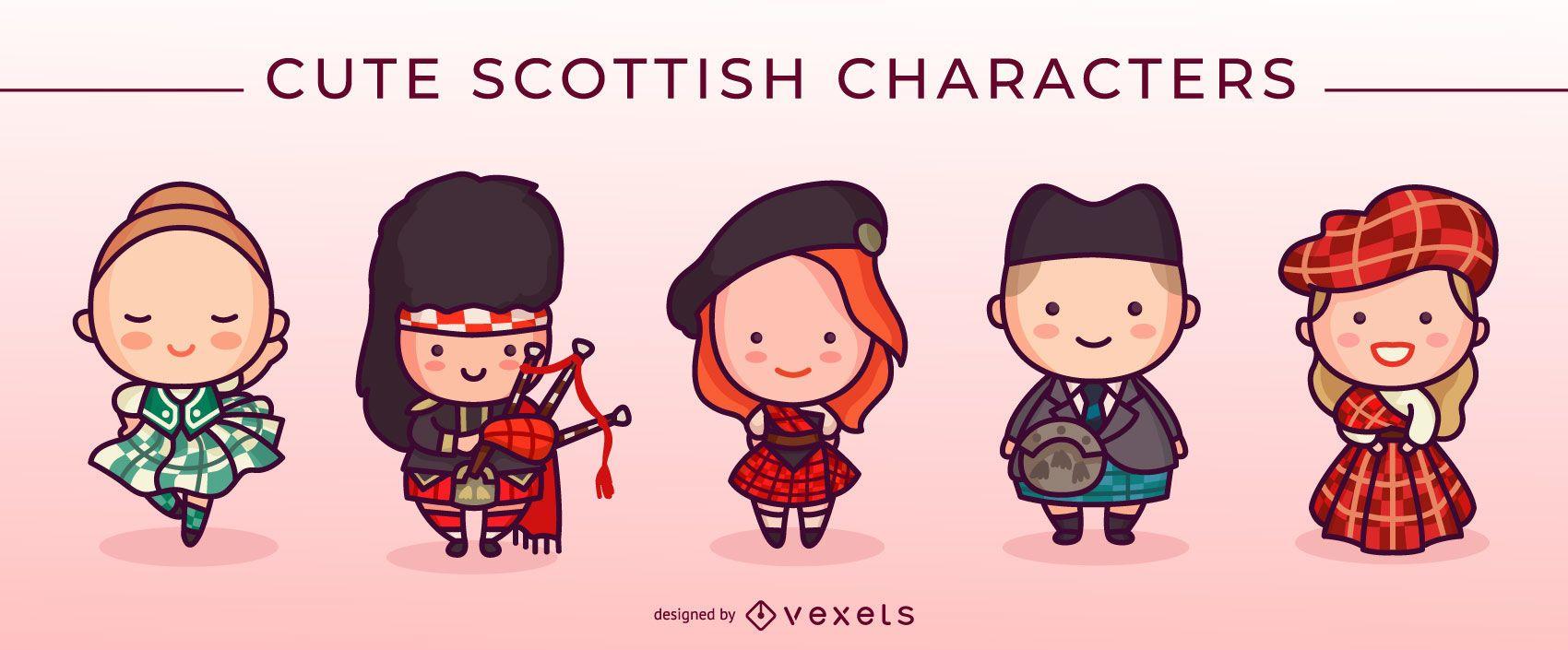 Cute scottish characters set