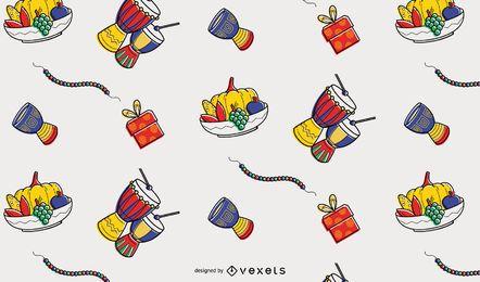 Diseño de patrón de elementos coloridos de Kwanzaa