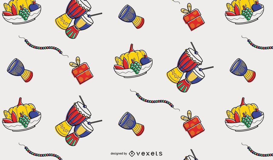 Kwanzaa colorful elements pattern design