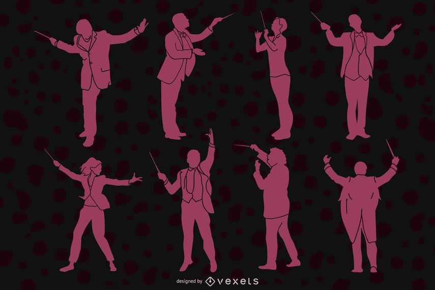 Orchestra conductor silhouette pack