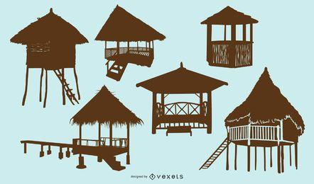 Conjunto de silhueta de cabana de praia de bambu