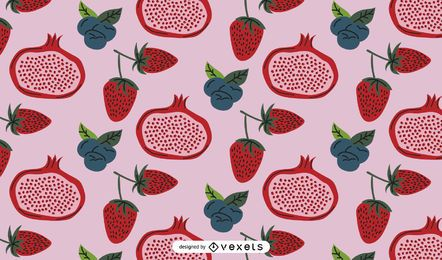 Diseño de patrón de frutas rojas