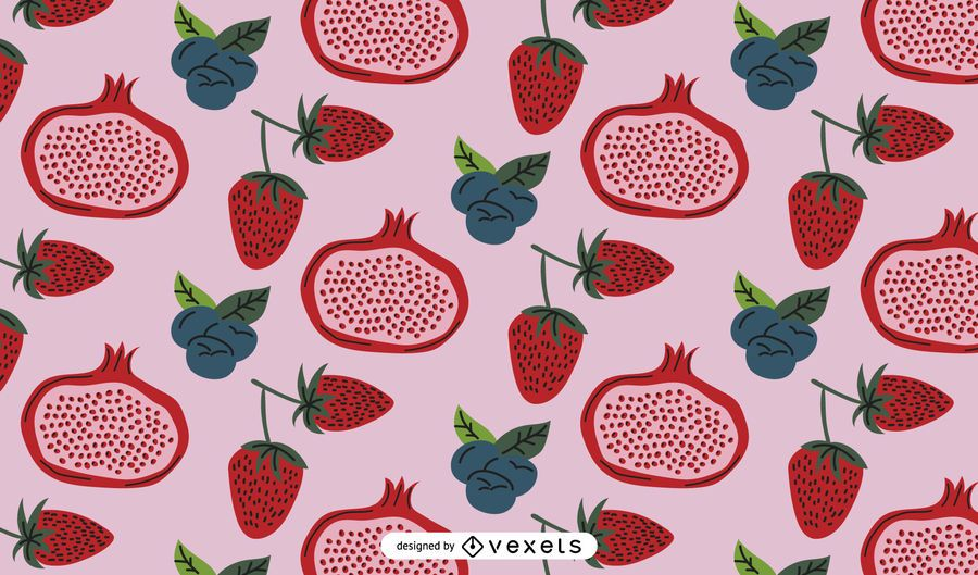 Red fruits pattern design