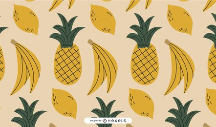 Desenho de padrão de frutas amarelas