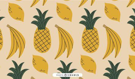 Diseño de patrón de frutas amarillas
