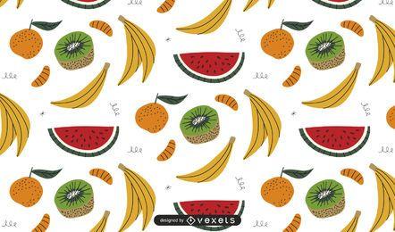 Diseño de patrón de frutas de colores