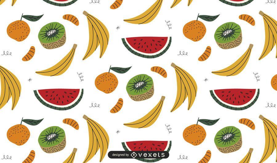 Diseño de patrón de frutas coloreadas