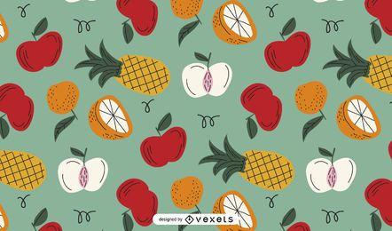 Desenho de padrão colorido de frutas