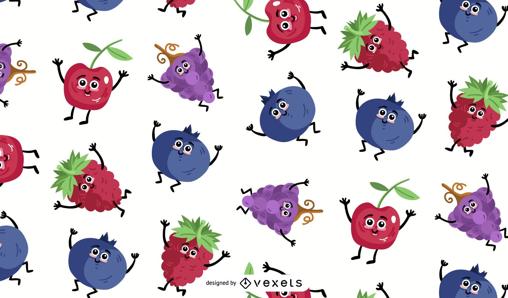 Cartoon fruits pattern design