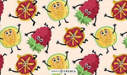 Diseño de patrón de personajes de frutas