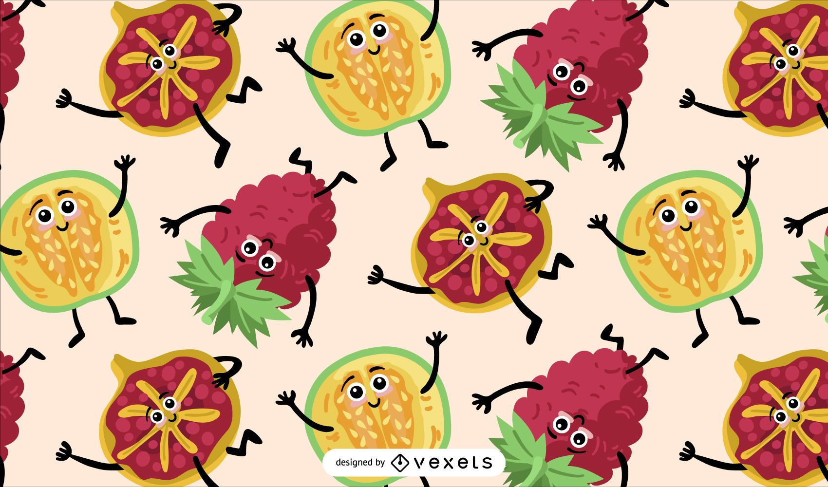 Fruits characters pattern design