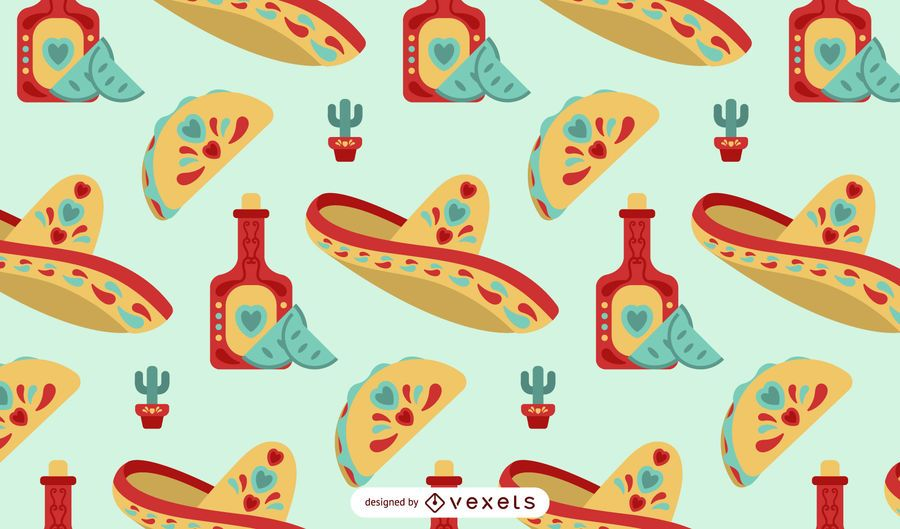 Mexican elements flat pattern design