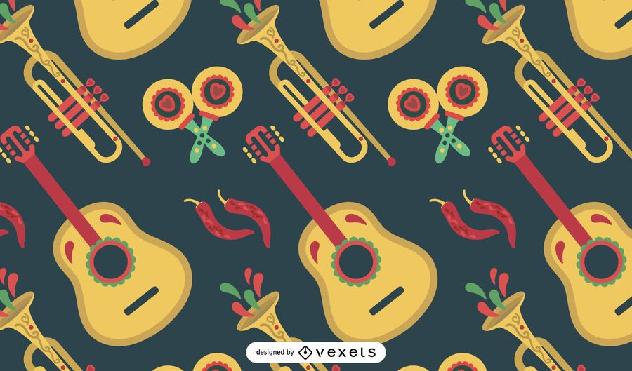Mexican instruments pattern design