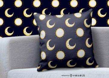 Desenho do padrão do sol da lua