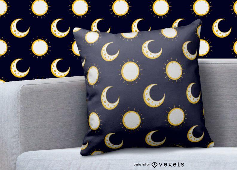Design de padrão de sol lua
