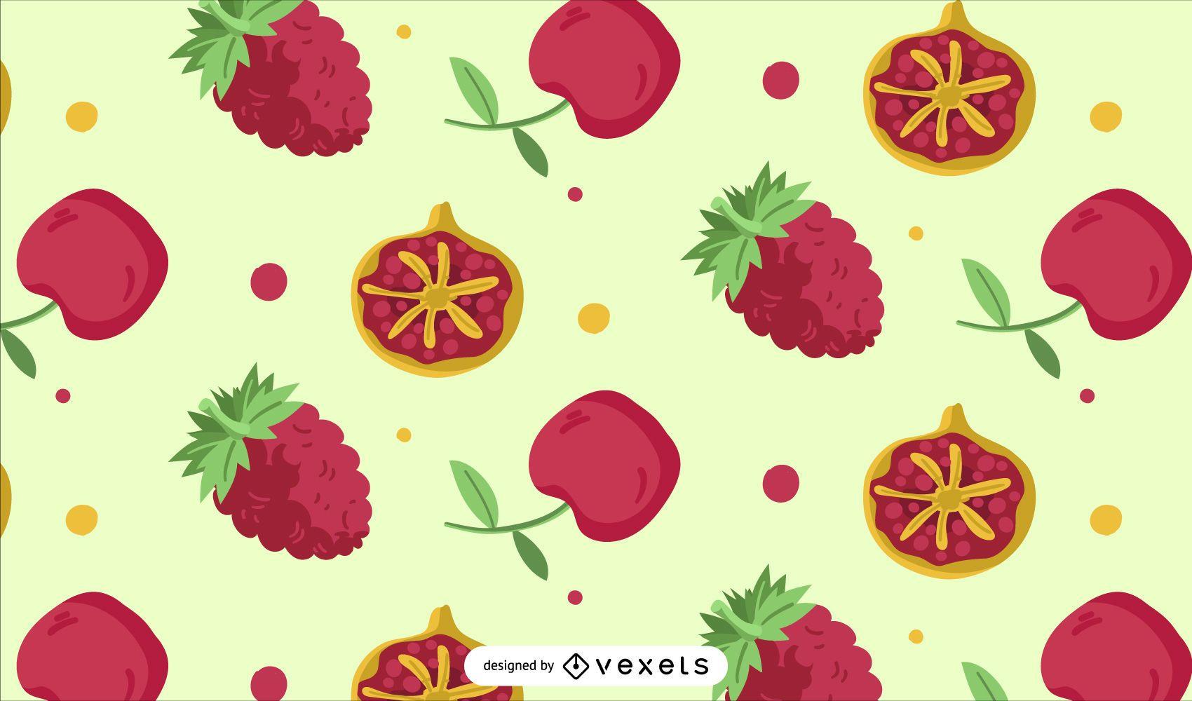 Diseño de patrón de frutos rojos