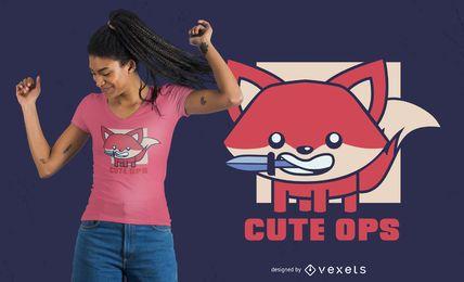Diseño lindo de camiseta de zorro