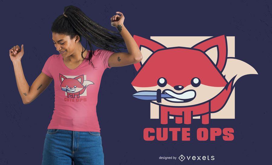 Cute ops fox t-shirt design