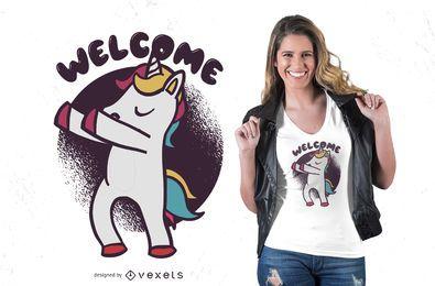 Diseño de camiseta de unicornio de bienvenida