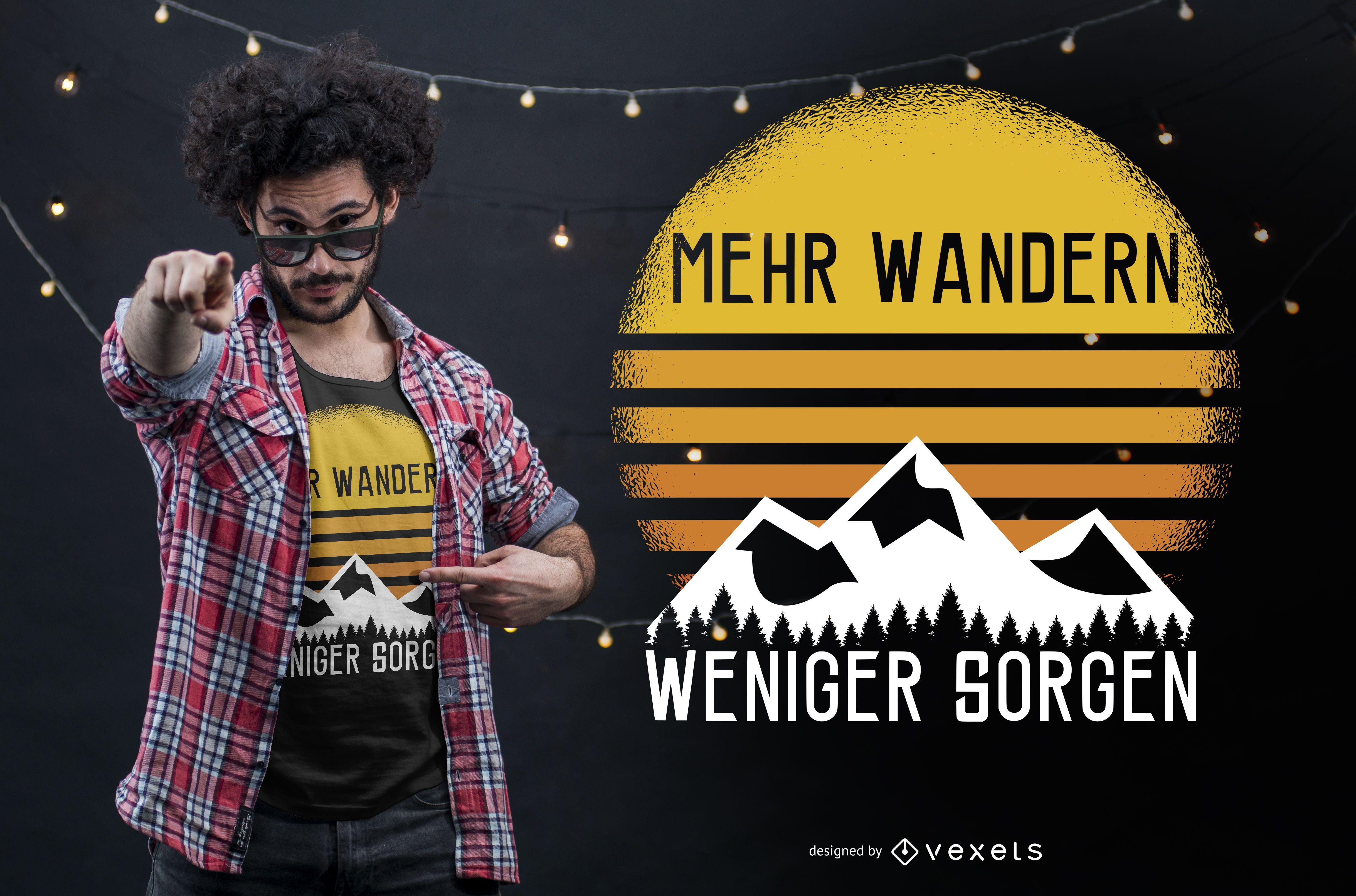 Diseño de camiseta con cita alemana de senderismo.