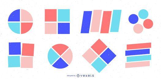 Conjunto de distintivo de formas geométricas coloridas