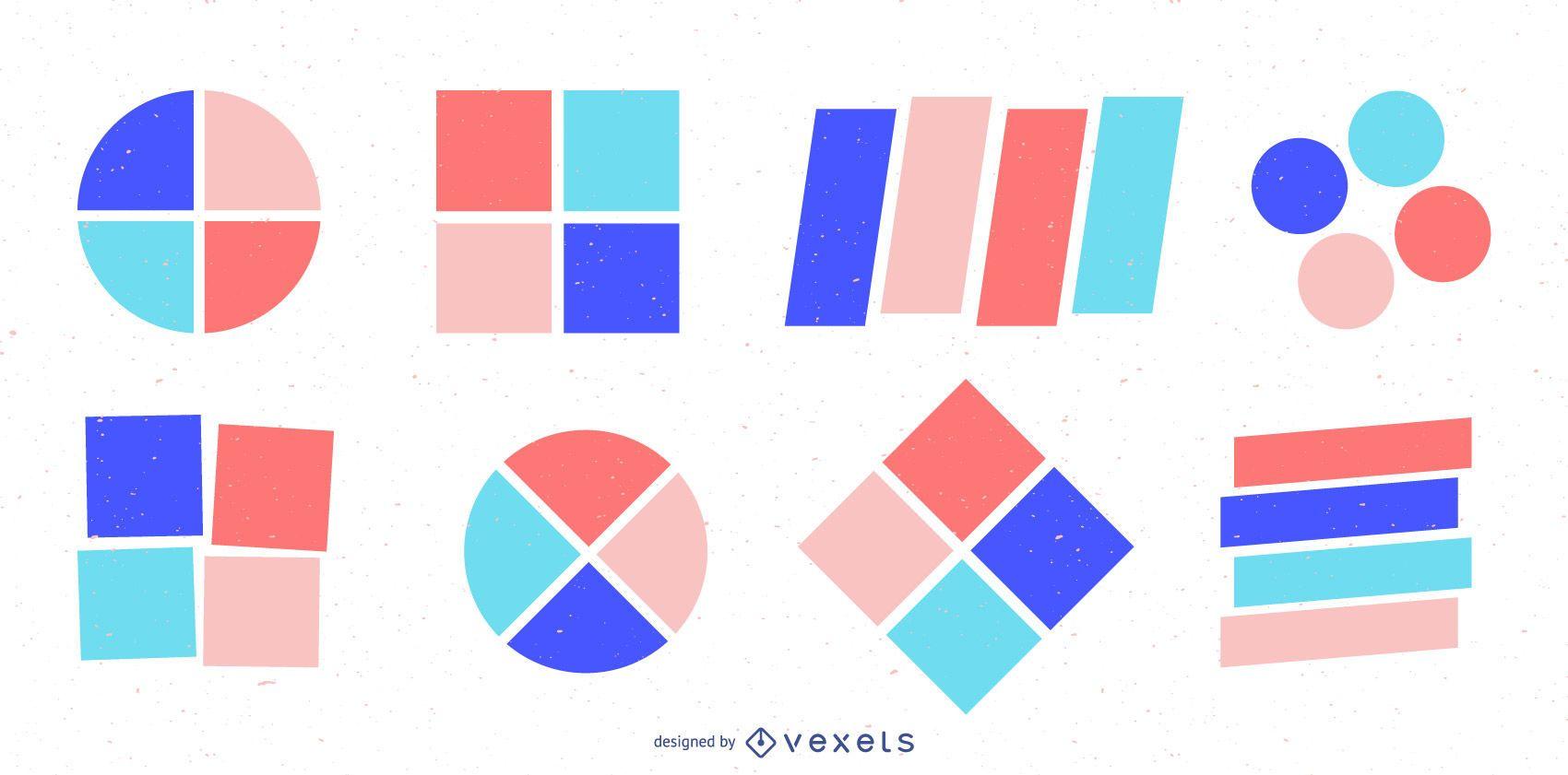 Conjunto de insignias de formas geométricas coloridas