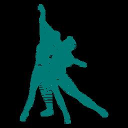 Bailarina bailarina sapato de ponta postura de tricô listrado silhueta balé
