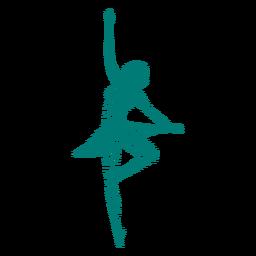 Bailarina bailarina ballet falda postura silueta rayada ballet