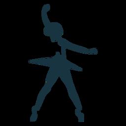 Bailarina saia dançarina de balé postura de sapato de ponta silhueta