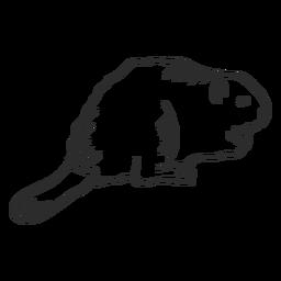 Animal de doodle de rabo de roedor de castor