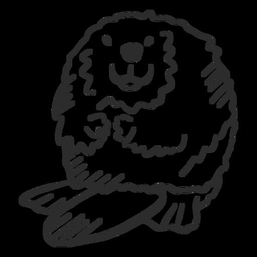 Animal de doodle gordo de roedor de cauda de castor Transparent PNG