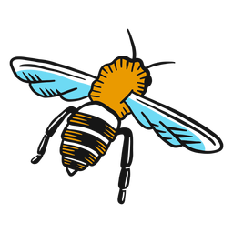 Bee wasp leg wing sketch insect