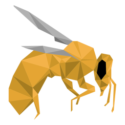 Bee wing leg wasp low poly insect