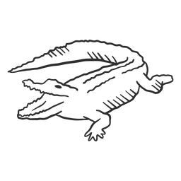 Cocodrilo cocodrilo mandíbulas cola colmillo doodle animal
