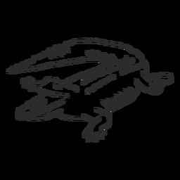 Mandíbulas de jacaré crocodilo presa de cauda doodle animal