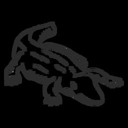 Jacaré de cauda de crocodilo doodle animal