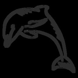 Nadadeira de cauda de golfinho natação doodle animal