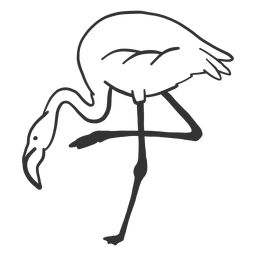 Flamingo beak leg neck doodle bird