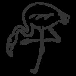 Flamingo pico pierna cuello doodle pájaro