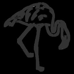 Flamingo pierna cuello pico doodle pájaro