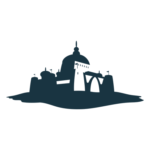 Fortress tower gate citadel stronghold castle detailed silhouette architecture Transparent PNG