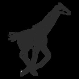 Girafa local pescoço ossicones cauda executando doodle animal