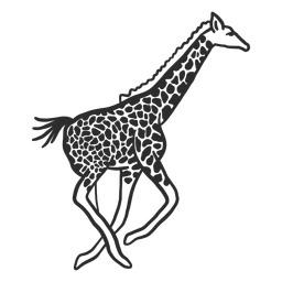 Giraffe spot neck ossicones tail running doodle animal