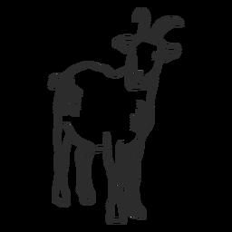 Cauda de chifre de orelha de cabra doodle animal
