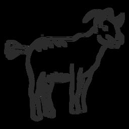 Orelha de cauda de chifre de cabra doodle animal