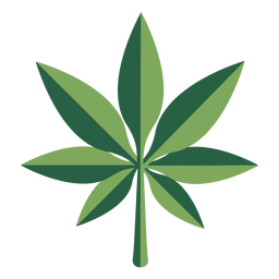 Hemp leaf marijuana drug flat plant