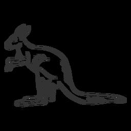 Canguru orelha cauda cauda doodle animal