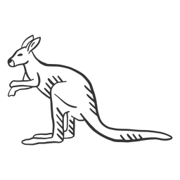 Kangaroo ear tail leg doodle animal