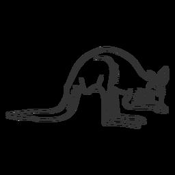 Canguru cauda orelha perna doodle animal