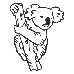 Orelha de ramo de nariz de coala doodle animal